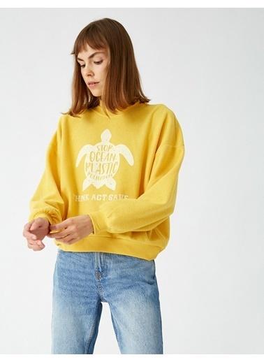 Koton Dik Yaka Baskili Sweatshirt Sarı